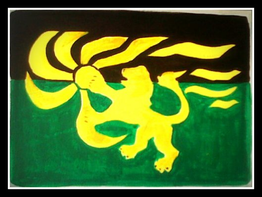 Handcrafted linocut print of the Zamunda Flag by Buddy from the Bronx!