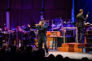 Kendrick Lamar with the NSO. (Kyle Gustafson/For The Washington Post)
